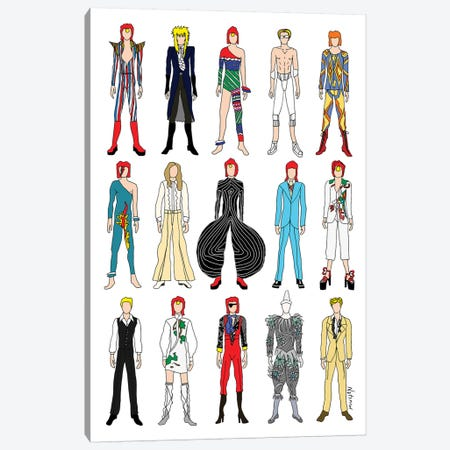 The Many Outfits Of Bowie Canvas Print #NOT39} by Notsniw Art Canvas Print