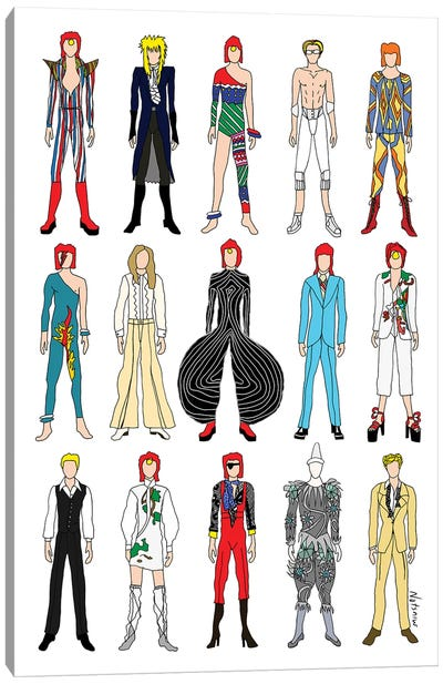 The Many Outfits Of Bowie Canvas Art Print