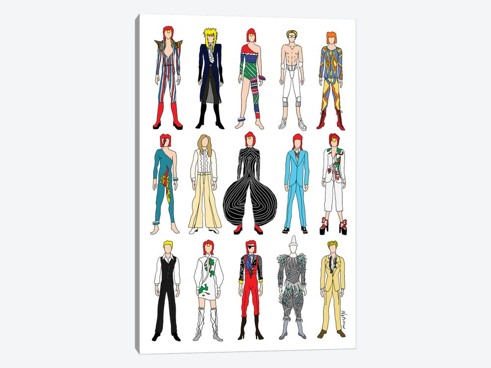 The Many Outfits Of Bowie by Notsniw Art 1-piece Canvas Wall Art