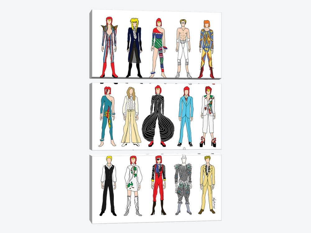 The Many Outfits Of Bowie by Notsniw Art 3-piece Canvas Artwork