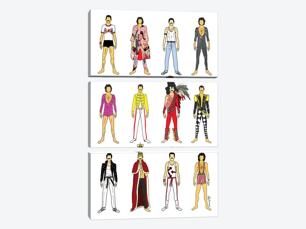 The Many Outfits Of Freddie by Notsniw Art 3-piece Canvas Art