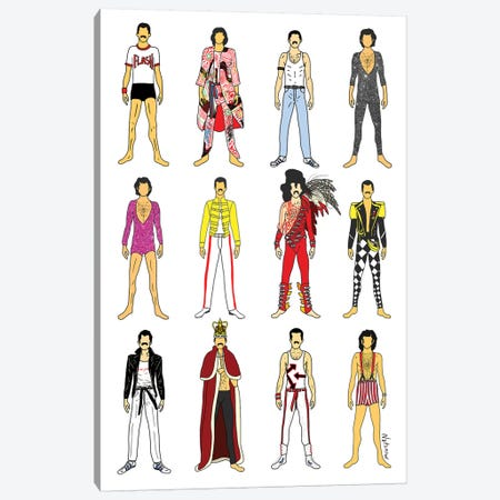 The Many Outfits Of Freddie Canvas Print #NOT40} by Notsniw Art Canvas Artwork