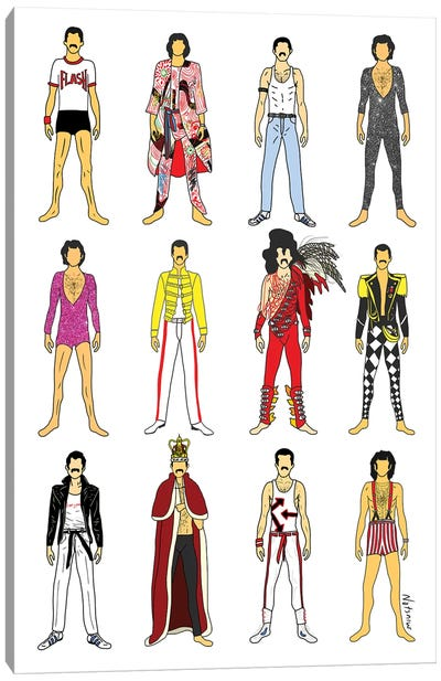 The Many Outfits Of Freddie Canvas Art Print