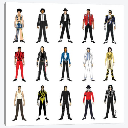 The Many Outfits Of The King Of Pop Canvas Print #NOT41} by Notsniw Art Canvas Artwork