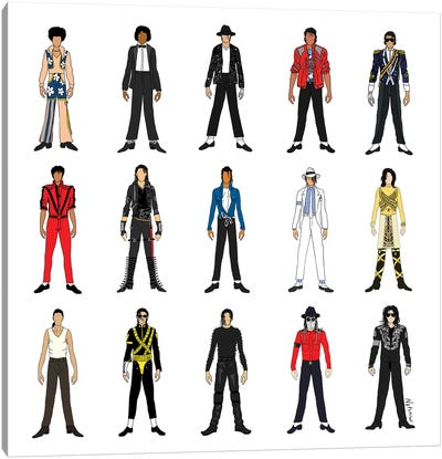 The Many Outfits Of The King Of Pop Canvas Art Print