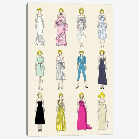 The Many Outfits Of Marilyn Canvas Print #NOT43} by Notsniw Art Canvas Artwork
