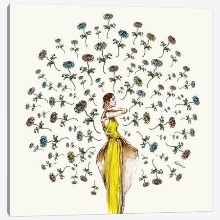 Paris Summer Flower Girl Canvas Print #NOT45} by Notsniw Art Art Print