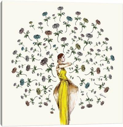 Paris Summer Flower Girl Canvas Art Print