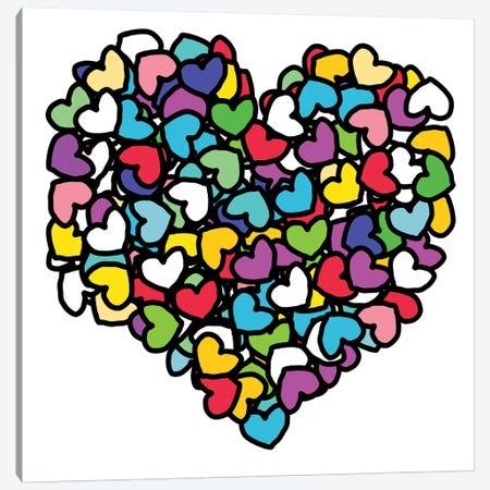 Rainbow Hearts Love Canvas Print #NOT50} by Notsniw Art Art Print