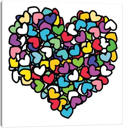 Rainbow Hearts Love Canvas Art Print