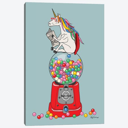 Unicorn Gumball Poop Canvas Print #NOT56} by Notsniw Art Canvas Wall Art