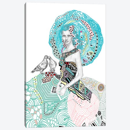 Victorian Geometric Floral Girl Canvas Print #NOT57} by Notsniw Art Canvas Wall Art
