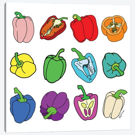 Rainbow Bell Peppers Paprika 3-Piece Canvas #NOT73} by Notsniw Art Canvas Print