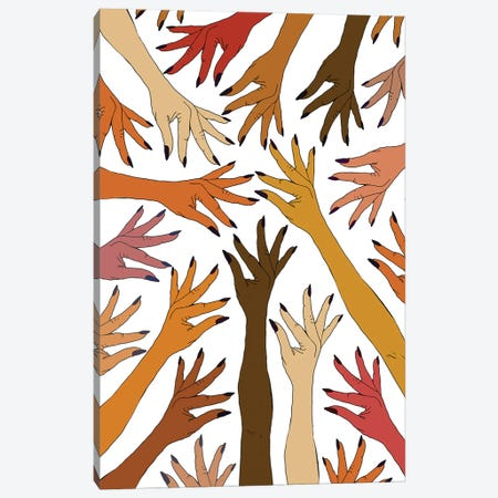Strength Pride Love Hands Canvas Print #NOT75} by Notsniw Art Canvas Artwork
