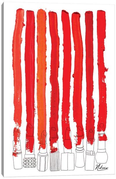 Lipstick Stripes Red Canvas Art Print