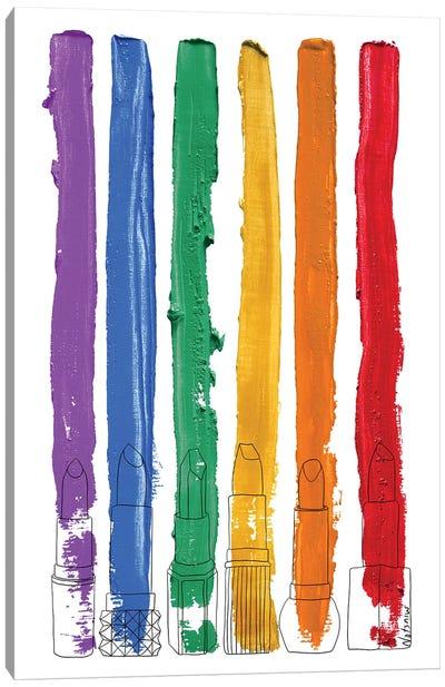 Lipstick Stripes Rainbow Gay Pride Canvas Art Print