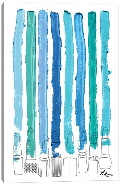 Lipstick Stripes Blue Teal Turquoise Canvas Art Print