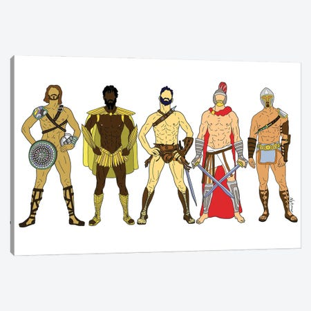Game Of Thrones Gladiator Warriors Canvas Print #NOT87} by Notsniw Art Canvas Print
