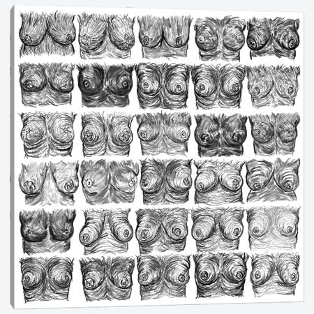 Breasts Ink Black And White Canvas Print #NOT92} by Notsniw Art Art Print