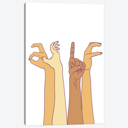 As If Hand Signs Canvas Print #NOT95} by Notsniw Art Canvas Artwork