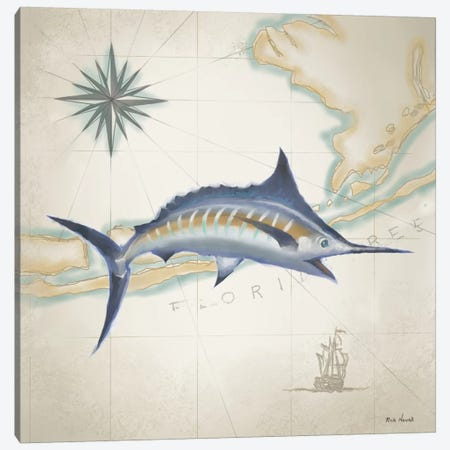Sailfish Map I Canvas Print #NOV1} by Rick Novak Canvas Art