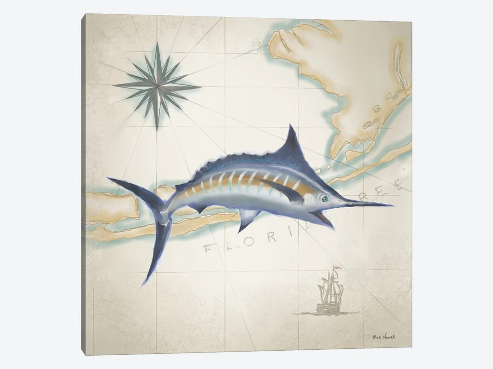 Sailfish Map I by Rick Novak 1-piece Art Print
