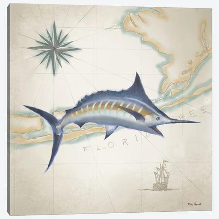 Sailfish Map I Canvas Print #NOV1} by Rick Novak Canvas Art