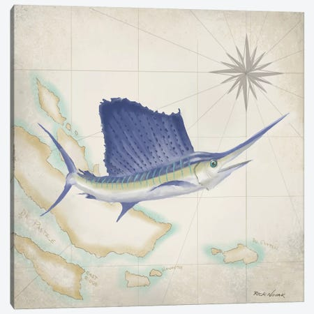 Sailfish Map II Canvas Print #NOV2} by Rick Novak Canvas Artwork