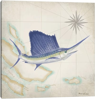 Sailfish Map II Canvas Art Print