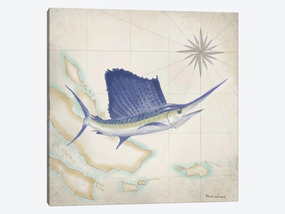 Sailfish Map II by Rick Novak 1-piece Canvas Artwork