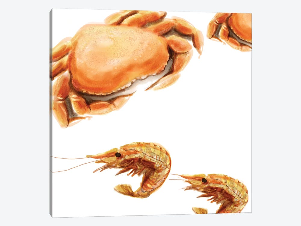 Illustrated Crab by Rick Novak 1-piece Canvas Art Print