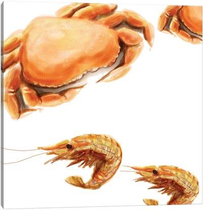 Illustrated Crab Canvas Art Print