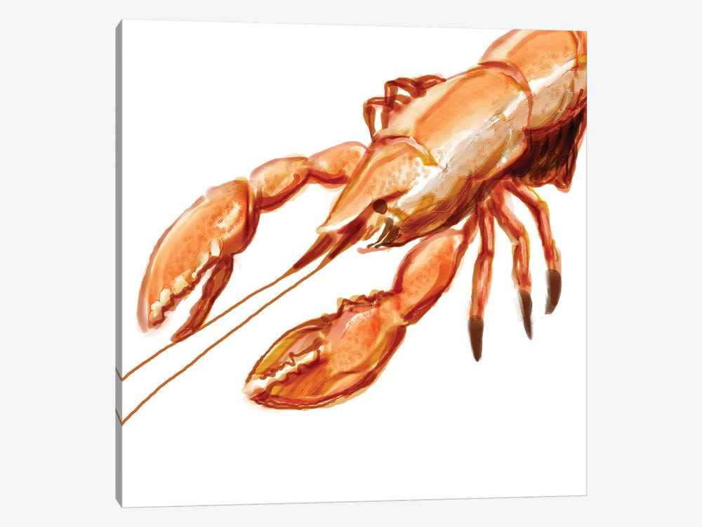 Illustrated Lobster I by Rick Novak 1-piece Canvas Art