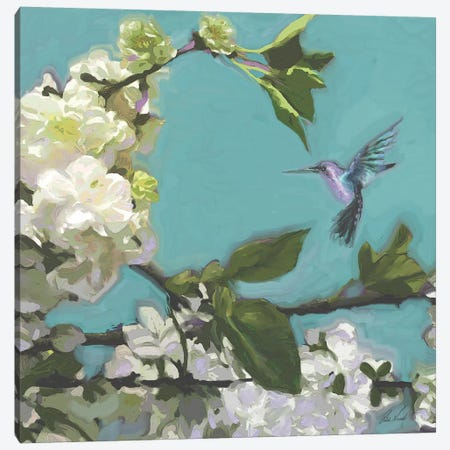 Hummingbird Florals I Canvas Print #NOV9} by Rick Novak Canvas Wall Art