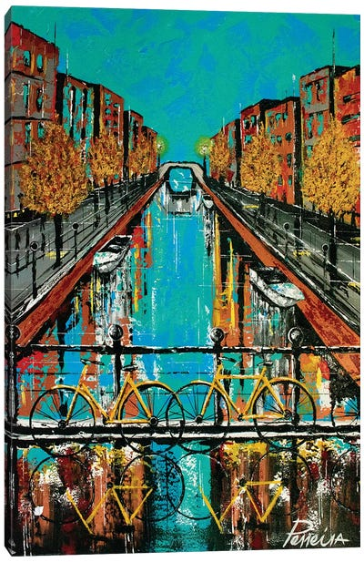 Colorful Canal Canvas Art Print