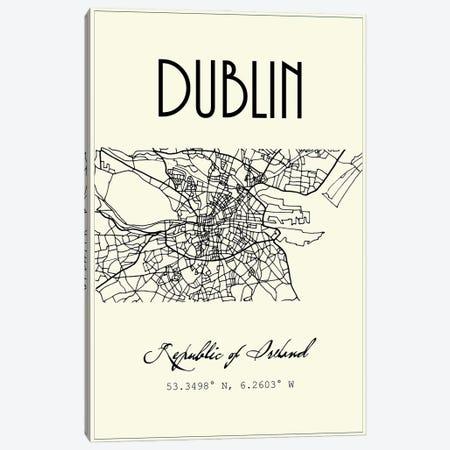 Dublin City Map Canvas Print #NPS100} by Nordic Print Studio Canvas Art Print