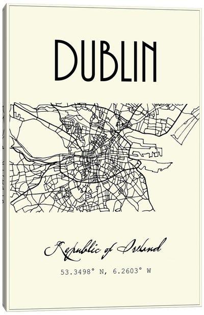 Dublin City Map Canvas Art Print