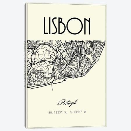 Lisbon City Map Canvas Print #NPS101} by Nordic Print Studio Canvas Print