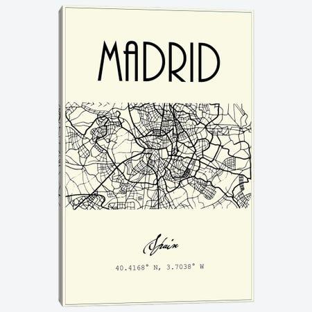 Madrid City Map Canvas Print #NPS102} by Nordic Print Studio Art Print