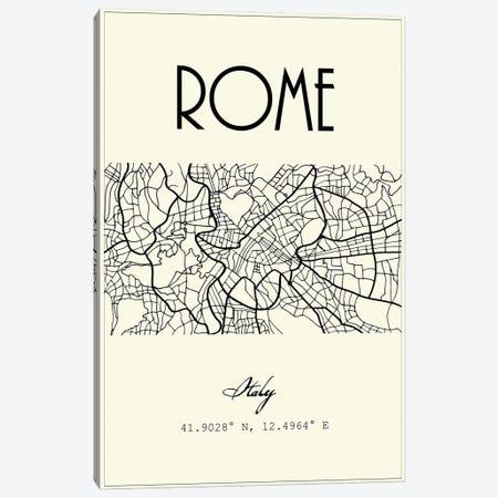 Rome City Map Canvas Print #NPS105} by Nordic Print Studio Canvas Art