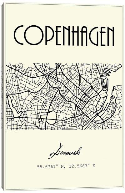 Copenhagen City Map Canvas Art Print