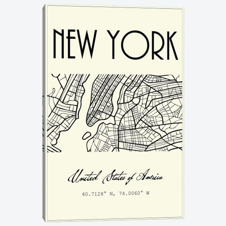 New York City Map Canvas Print #NPS107} by Nordic Print Studio Canvas Art