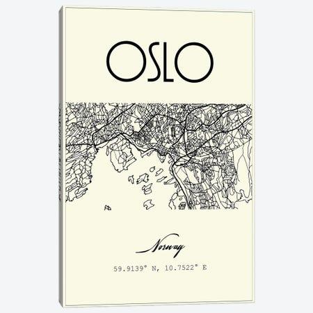 Oslo City Map Canvas Print #NPS108} by Nordic Print Studio Canvas Art Print
