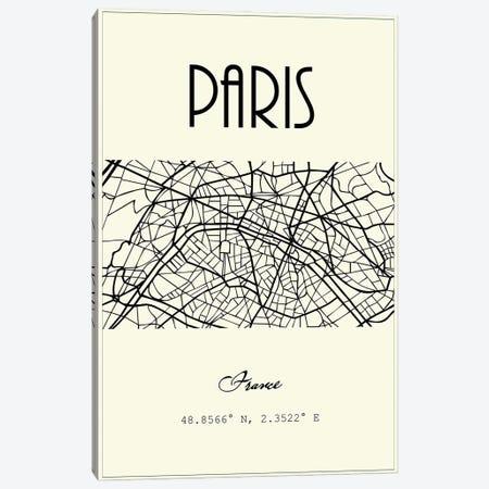 Paris City Map Canvas Print #NPS109} by Nordic Print Studio Art Print