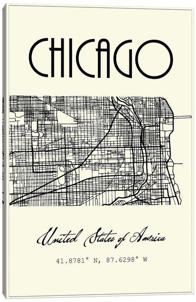 Chicago City Map Canvas Art Print