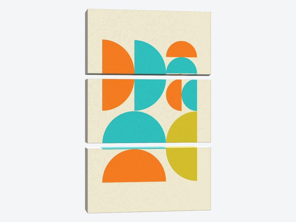 Mid Century Pop Modern Geometry Half Moons by Nordic Print Studio 3-piece Canvas Artwork