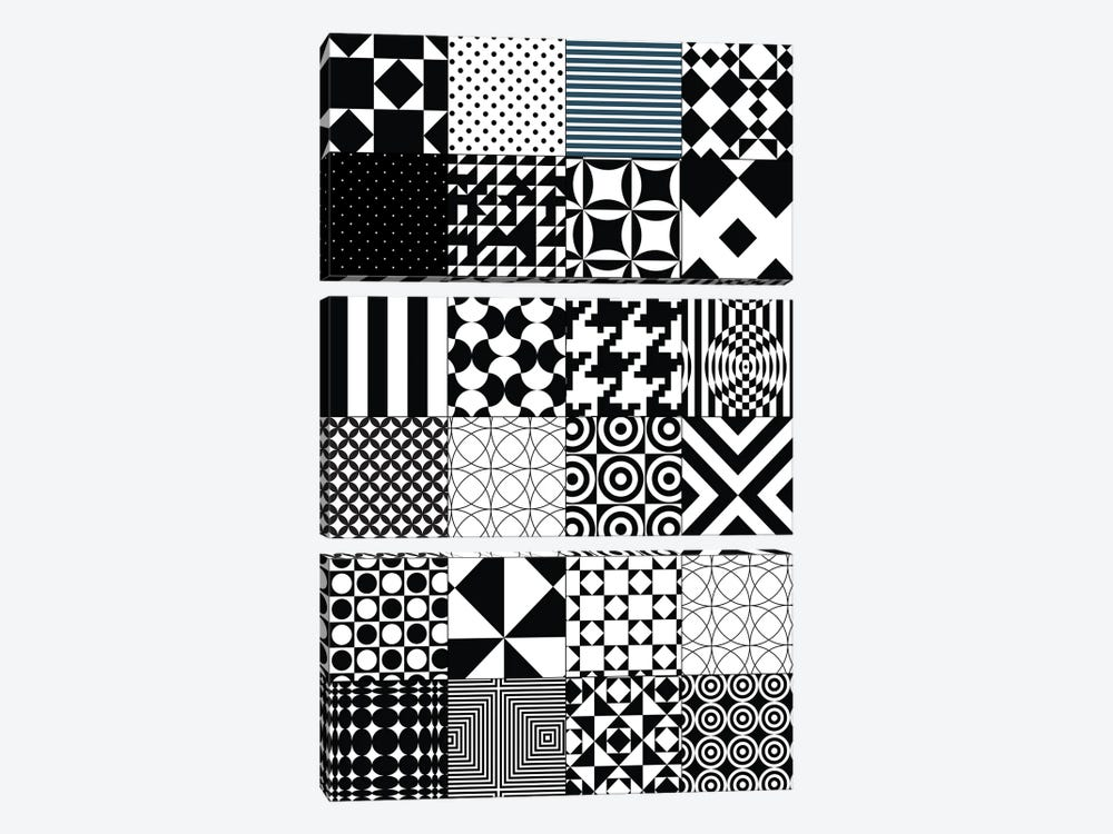 Abstract Quilt Pattern by Nordic Print Studio 3-piece Canvas Artwork