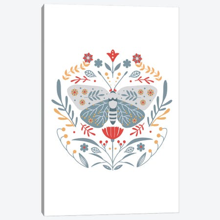Scandinavian Folk Art Butterfly Canvas Print #NPS126} by Nordic Print Studio Canvas Wall Art