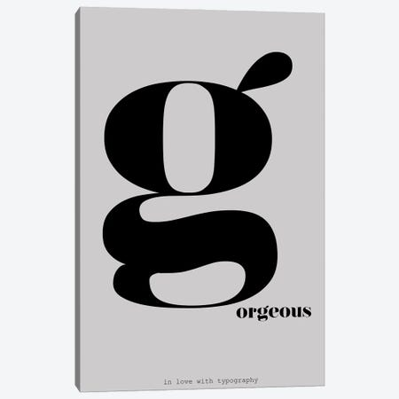 Typography Series Letter G-Orgeous Canvas Print #NPS129} by Nordic Print Studio Art Print
