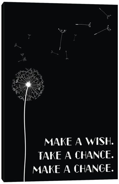 Dandelion Make A Wish Inspirational Canvas Art Print